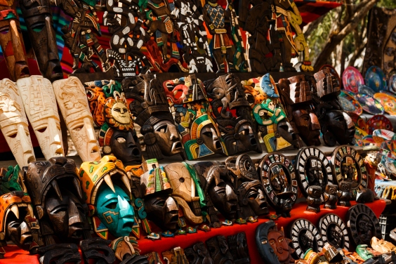 Different wooden souvenirs at the local Mexican market